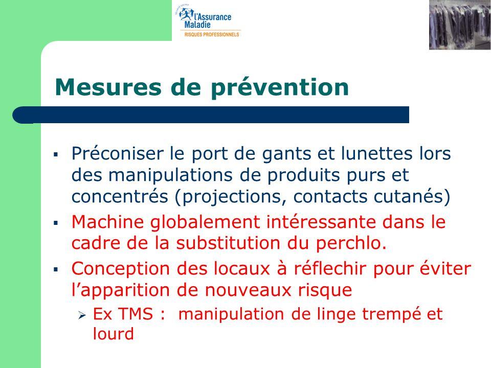 Mesures de prévention Préconiser le port de gants et lunettes lors des manipulations de produits purs et concentrés (projections, contacts cutanés)