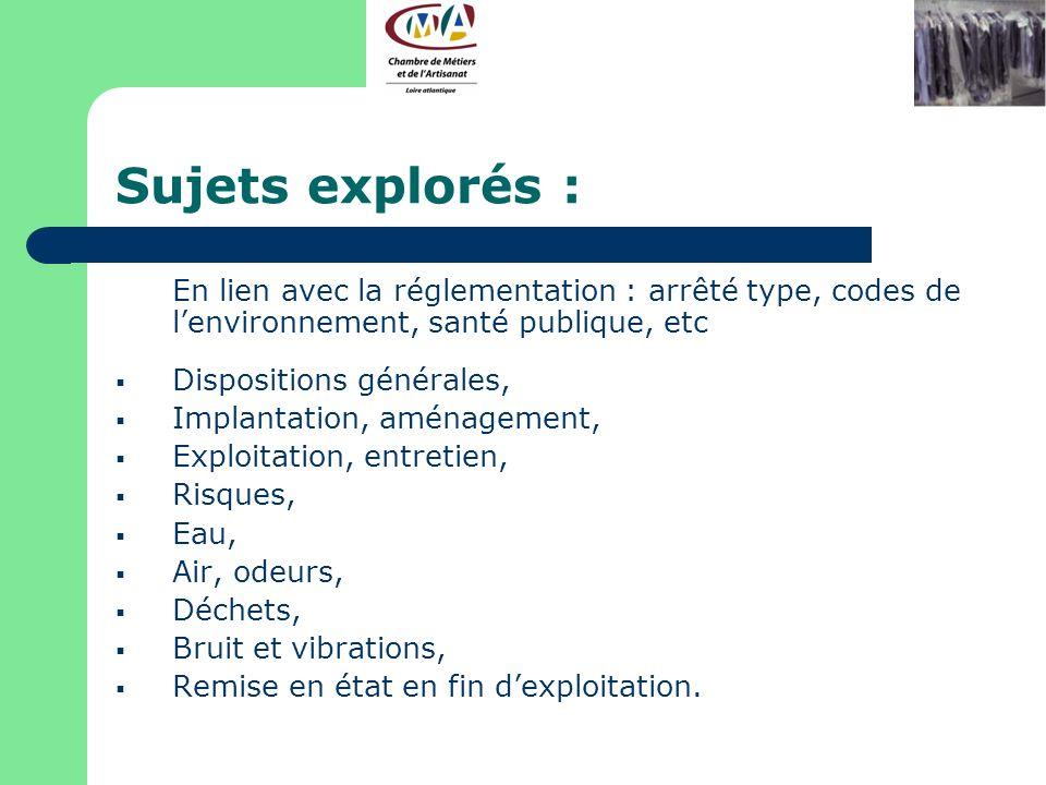 Sujets explorés : En lien avec la réglementation : arrêté type, codes de l'environnement, santé publique, etc.