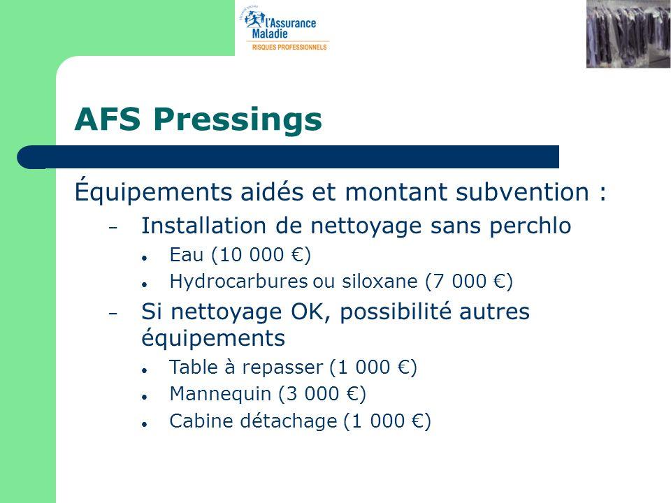 AFS Pressings Équipements aidés et montant subvention :
