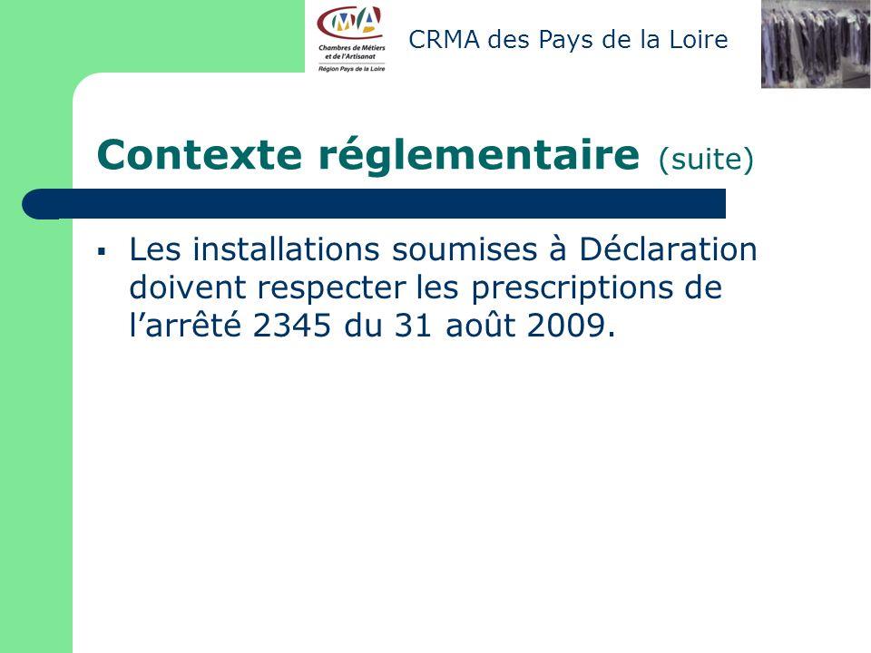 Contexte réglementaire (suite)