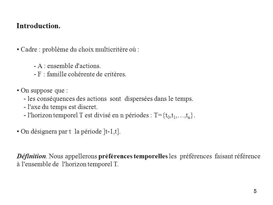 Introduction. Cadre : problème du choix multicritère où :