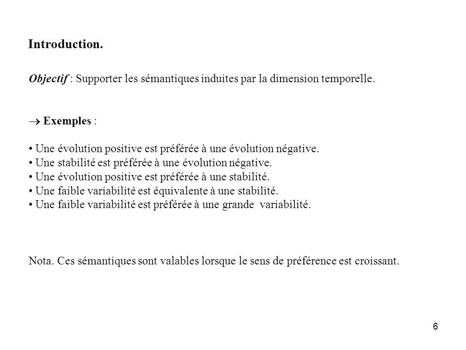 Introduction. Objectif : Supporter les sémantiques induites par la dimension temporelle.  Exemples :