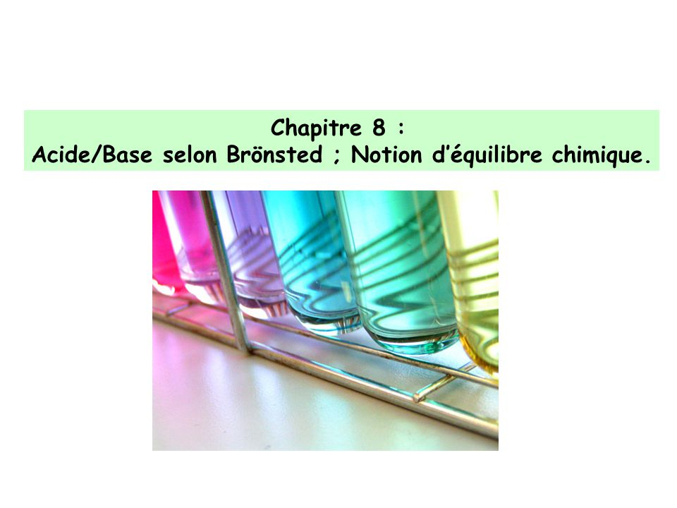 Acide/Base selon Brönsted ; Notion d'équilibre chimique.