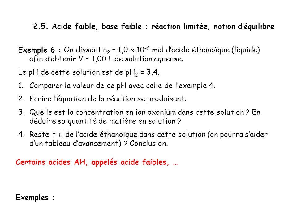 2.5. Acide faible, base faible : réaction limitée, notion d'équilibre