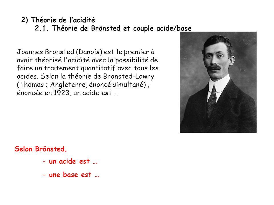 2) Théorie de l'acidité 2.1. Théorie de Brönsted et couple acide/base.