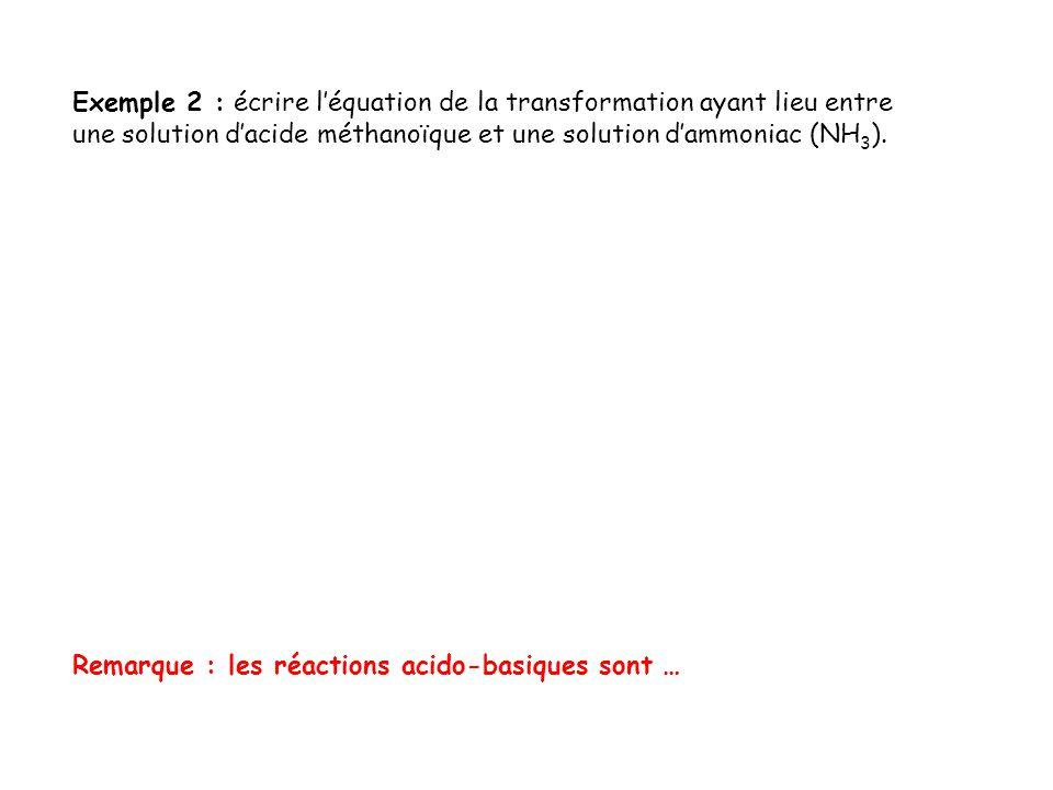 Exemple 2 : écrire l'équation de la transformation ayant lieu entre une solution d'acide méthanoïque et une solution d'ammoniac (NH3).