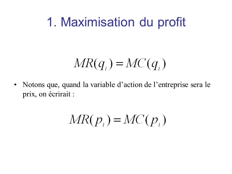 1. Maximisation du profit