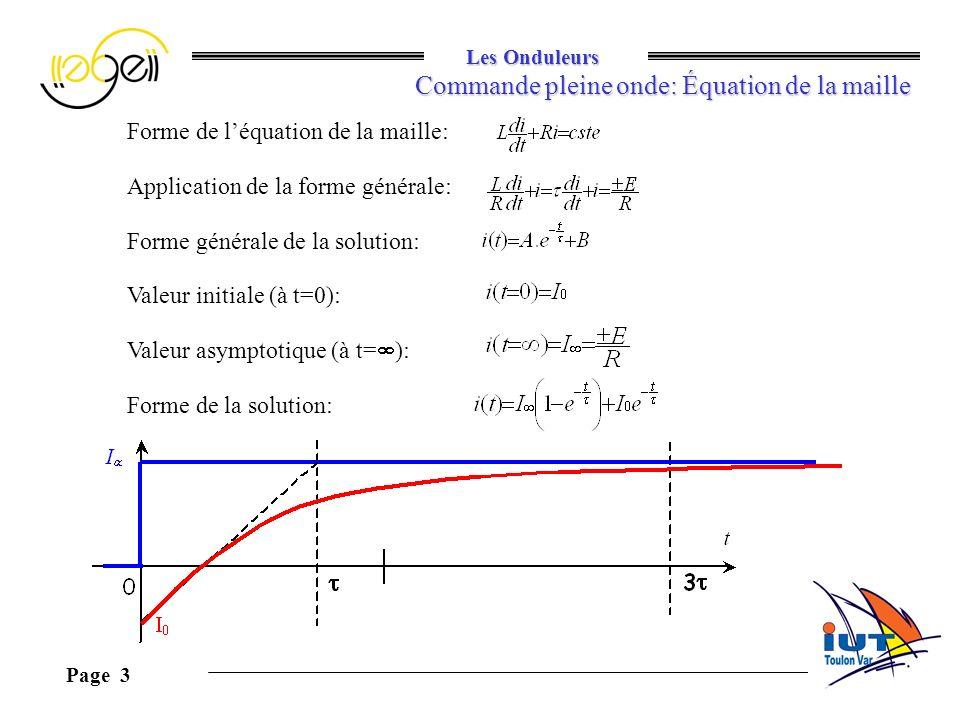 Commande pleine onde: Équation de la maille