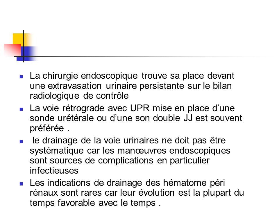 La chirurgie endoscopique trouve sa place devant une extravasation urinaire persistante sur le bilan radiologique de contrôle