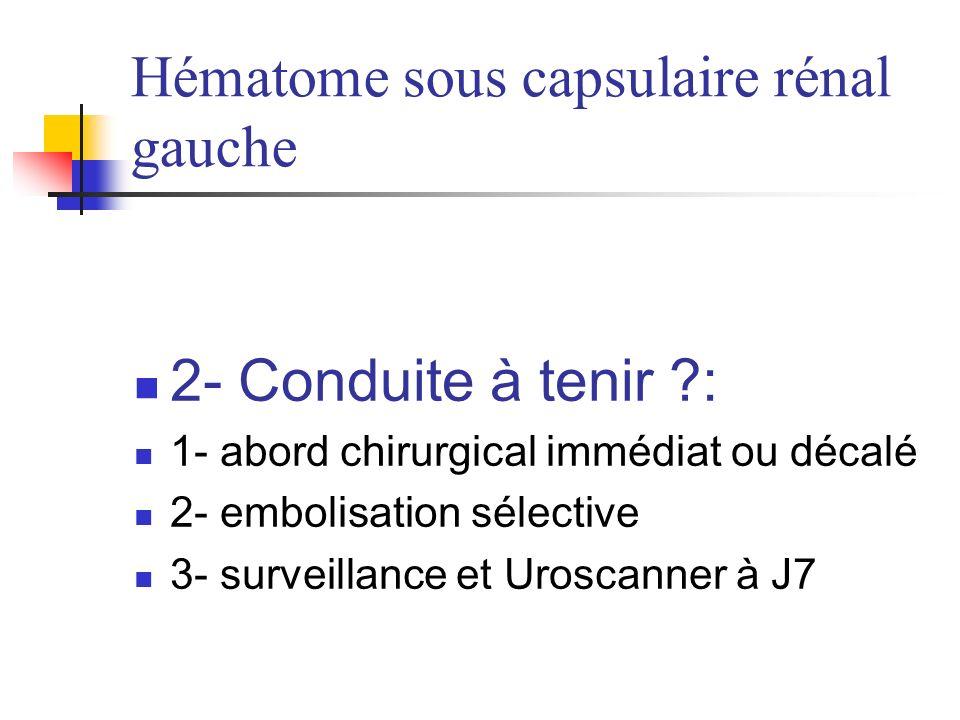 Hématome sous capsulaire rénal gauche