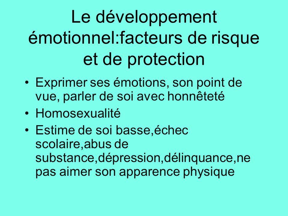 Le développement émotionnel:facteurs de risque et de protection
