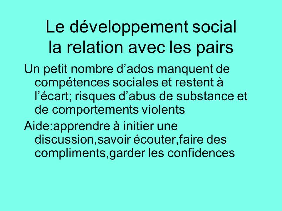Le développement social la relation avec les pairs