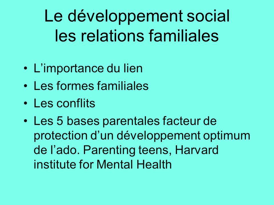 Le développement social les relations familiales