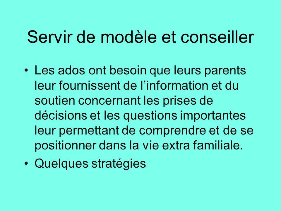 Servir de modèle et conseiller