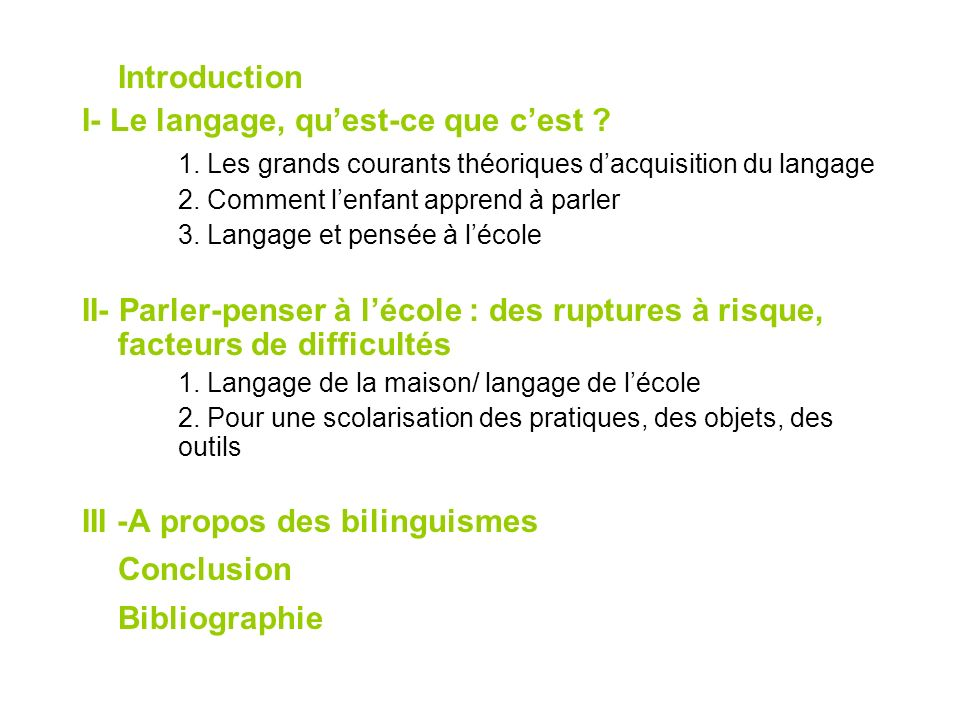 Conclusion Introduction I- Le langage, qu'est-ce que c'est