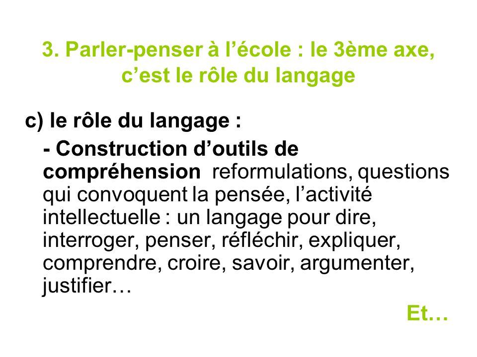 3. Parler-penser à l'école : le 3ème axe, c'est le rôle du langage