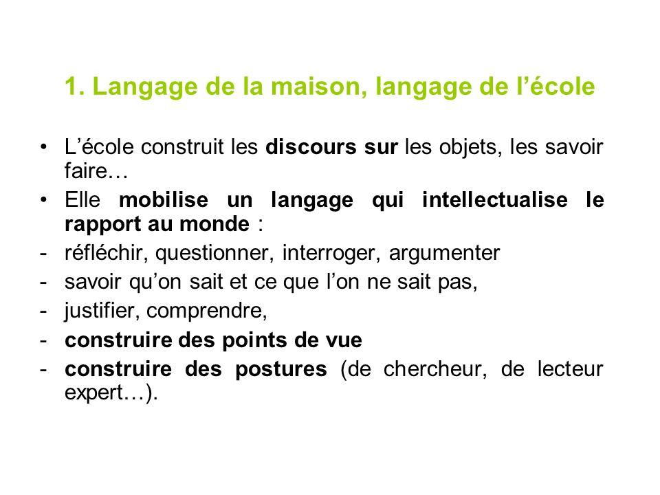 1. Langage de la maison, langage de l'école