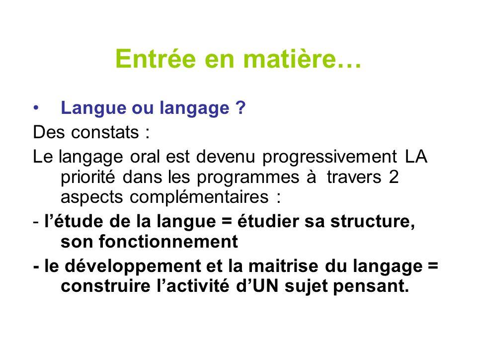 Entrée en matière… Langue ou langage Des constats :