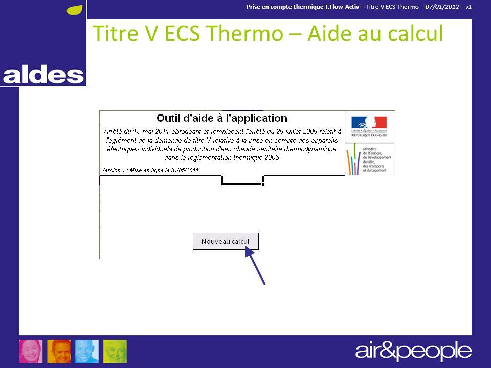 Titre V ECS Thermo – Aide au calcul