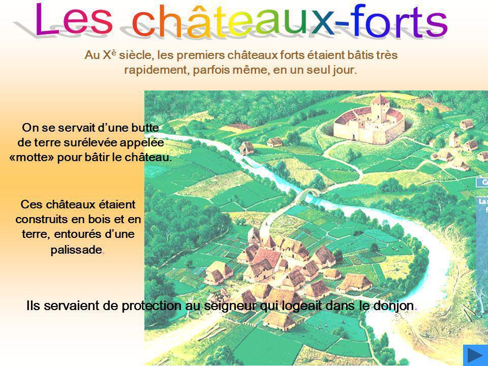 Les châteaux-forts Au Xè siècle, les premiers châteaux forts étaient bâtis très rapidement, parfois même, en un seul jour.