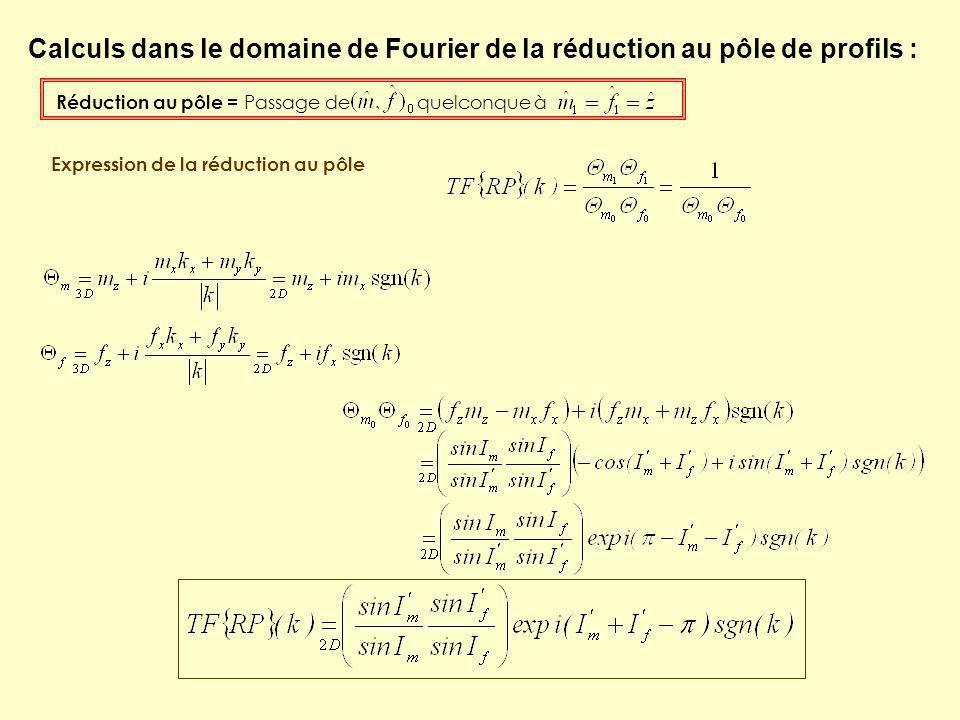 Calculs dans le domaine de Fourier de la réduction au pôle de profils :