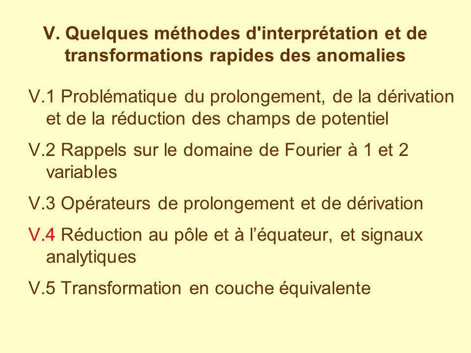 V. Quelques méthodes d interprétation et de transformations rapides des anomalies