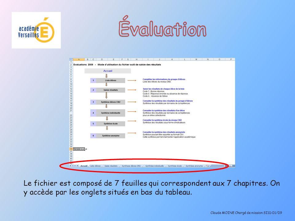 Évaluation Le fichier est composé de 7 feuilles qui correspondent aux 7 chapitres. On y accède par les onglets situés en bas du tableau.