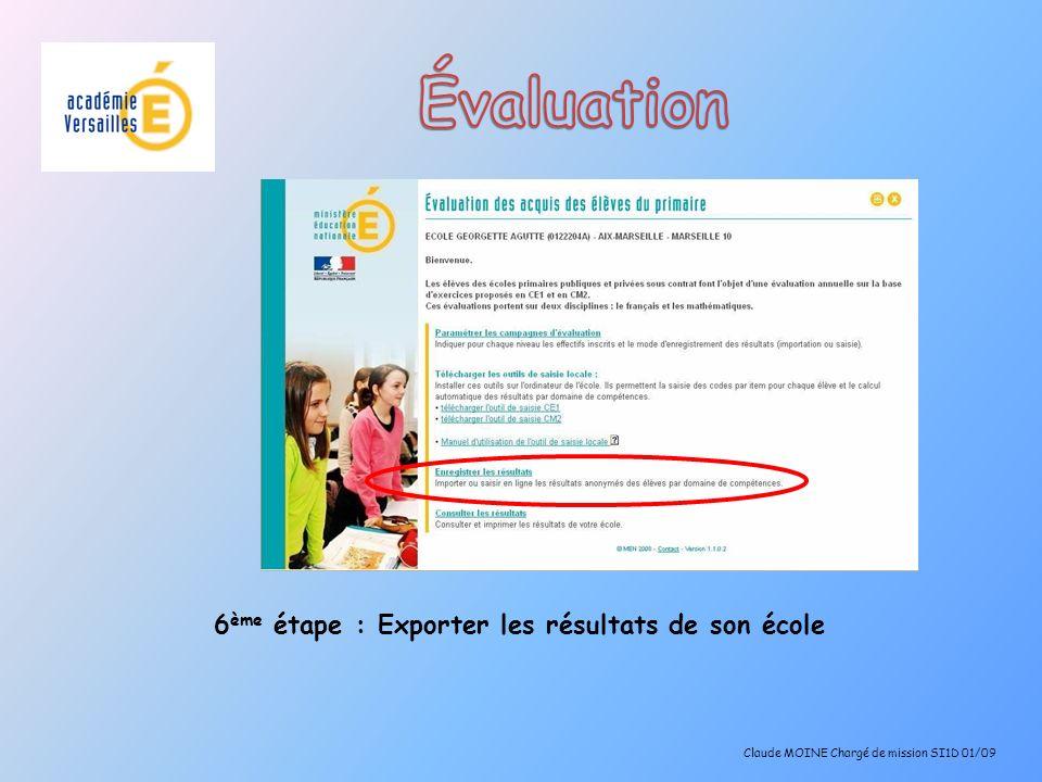 Évaluation 6ème étape : Exporter les résultats de son école