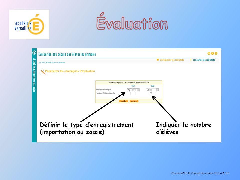 Évaluation Définir le type d'enregistrement (importation ou saisie)
