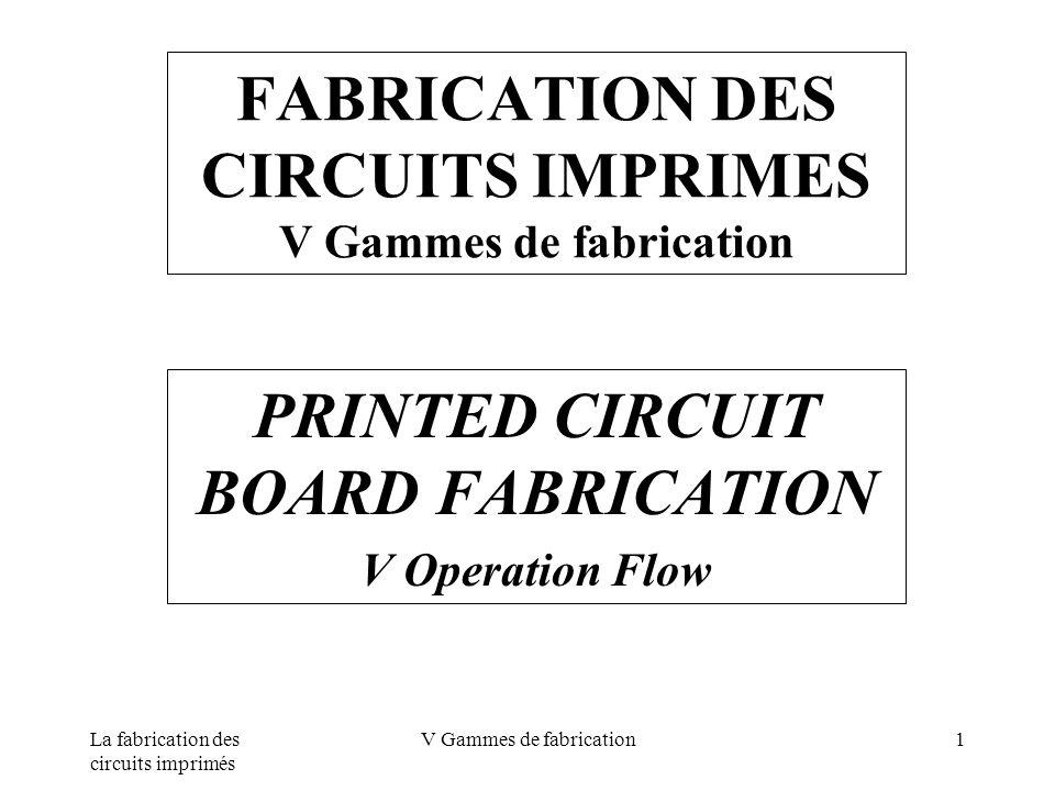 FABRICATION DES CIRCUITS IMPRIMES V Gammes de fabrication