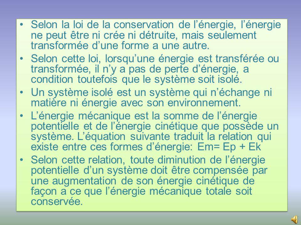 Selon la loi de la conservation de l'énergie, l'énergie ne peut être ni crée ni détruite, mais seulement transformée d'une forme a une autre.