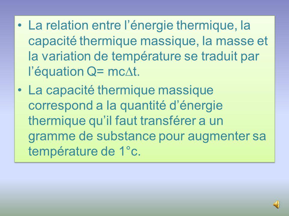 La relation entre l'énergie thermique, la capacité thermique massique, la masse et la variation de température se traduit par l'équation Q= mct.