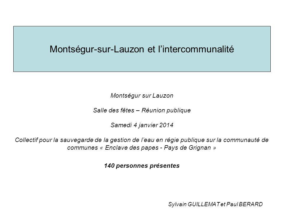 Montségur-sur-Lauzon et l'intercommunalité