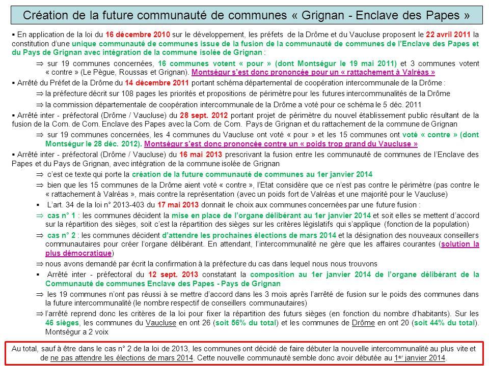 Création de la future communauté de communes « Grignan - Enclave des Papes »