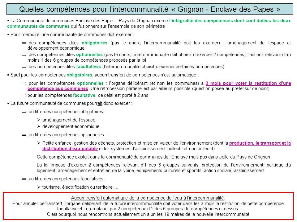 Quelles compétences pour l'intercommunalité « Grignan - Enclave des Papes »