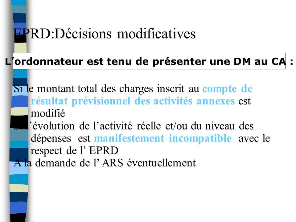 L'ordonnateur est tenu de présenter une DM au CA :