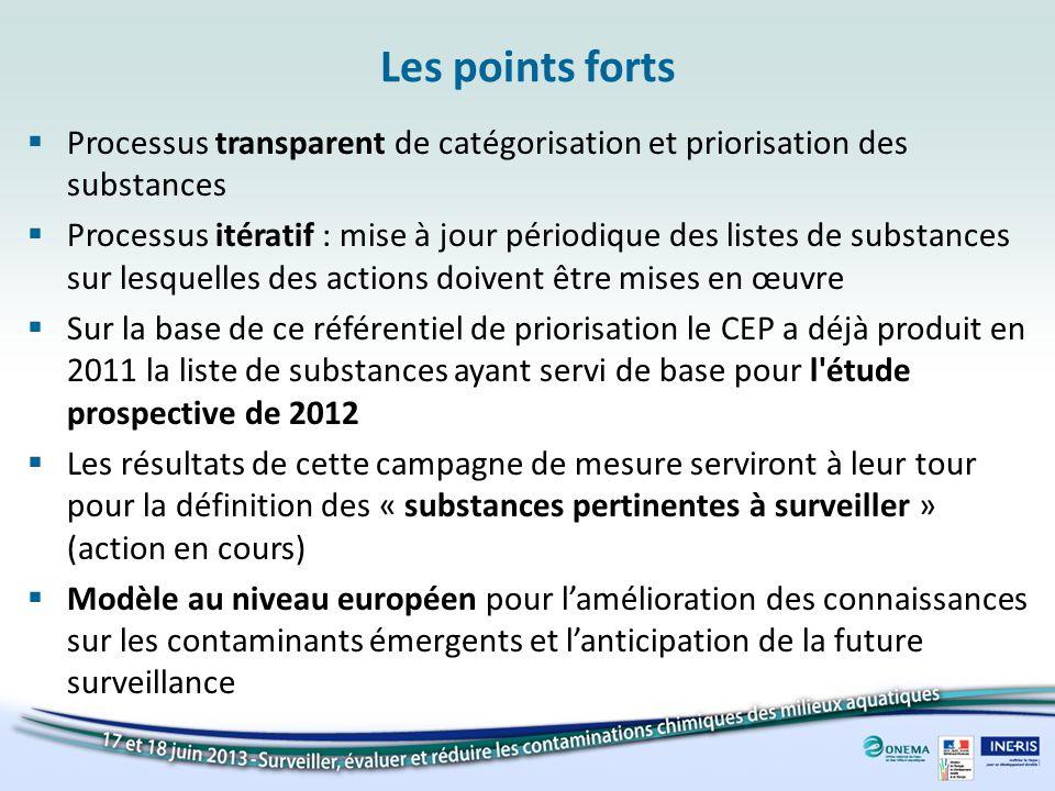 Les points forts Processus transparent de catégorisation et priorisation des substances.