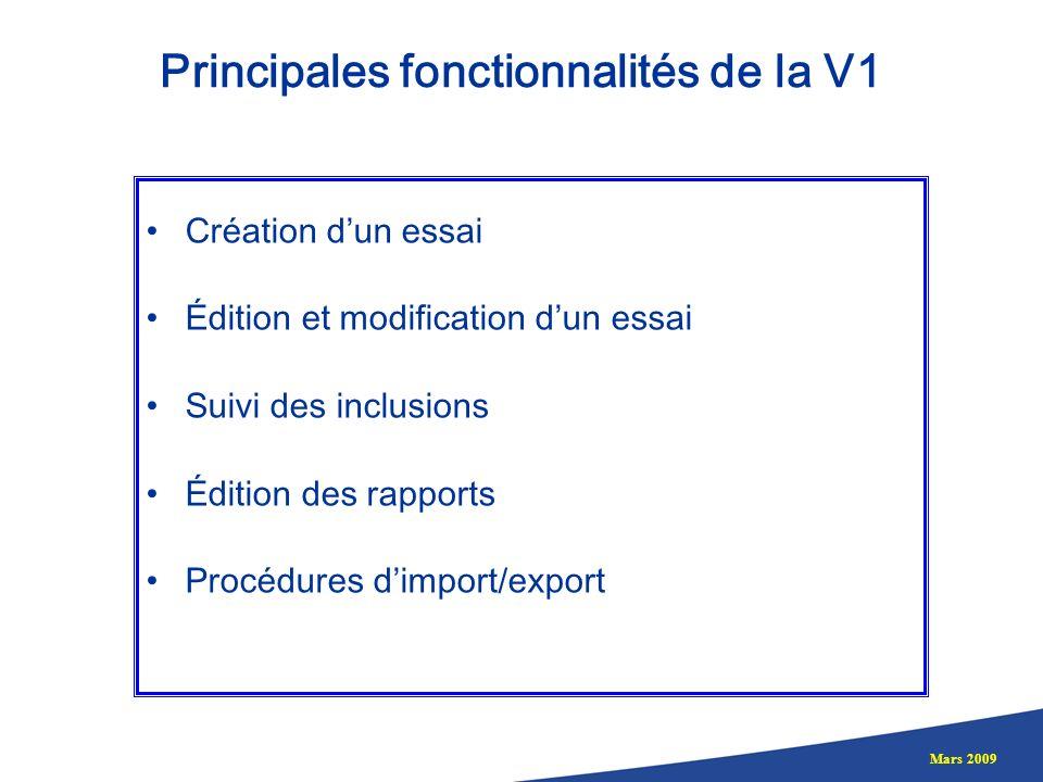 Principales fonctionnalités de la V1