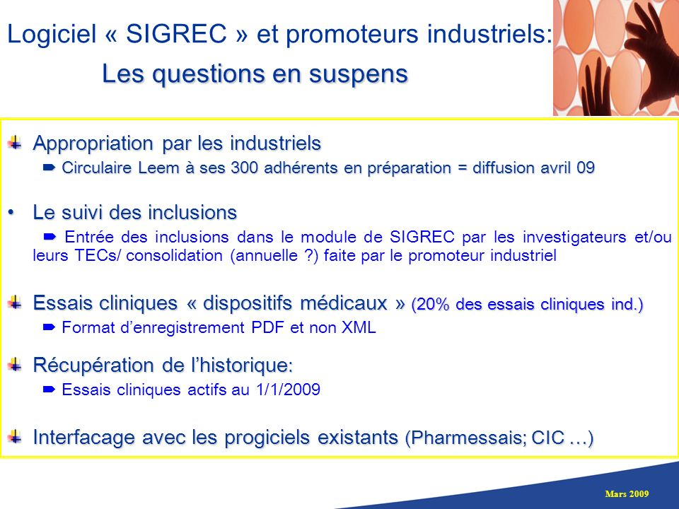 Logiciel « SIGREC » et promoteurs industriels: Les questions en suspens