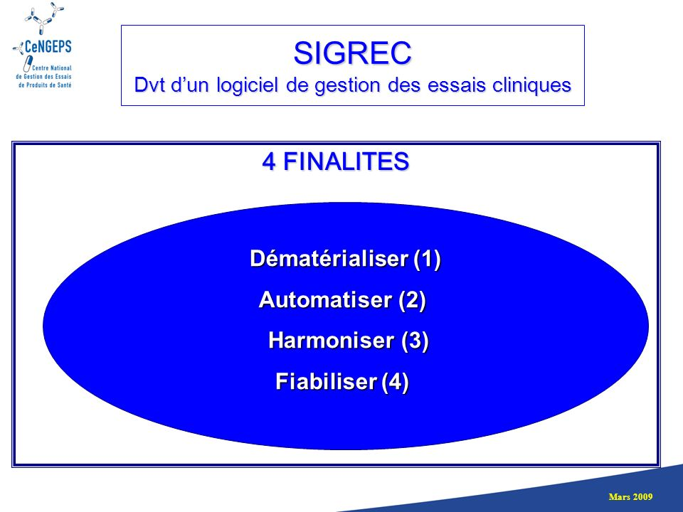 SIGREC Dvt d'un logiciel de gestion des essais cliniques