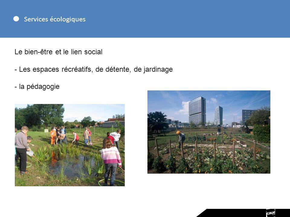 Services écologiques Le bien-être et le lien social. Les espaces récréatifs, de détente, de jardinage.