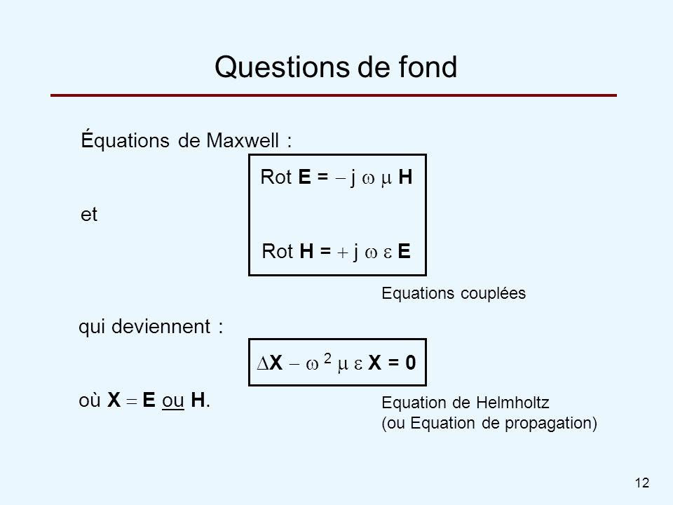 Questions de fond Équations de Maxwell : Rot E = - j w m H et