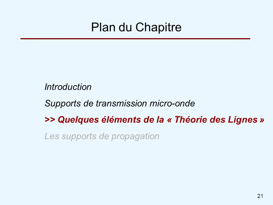 Plan du Chapitre Introduction Supports de transmission micro-onde