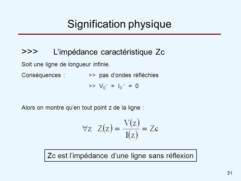 Signification physique