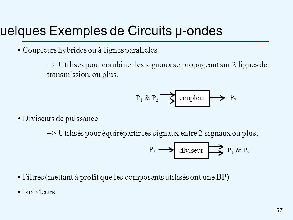 Quelques Exemples de Circuits µ-ondes