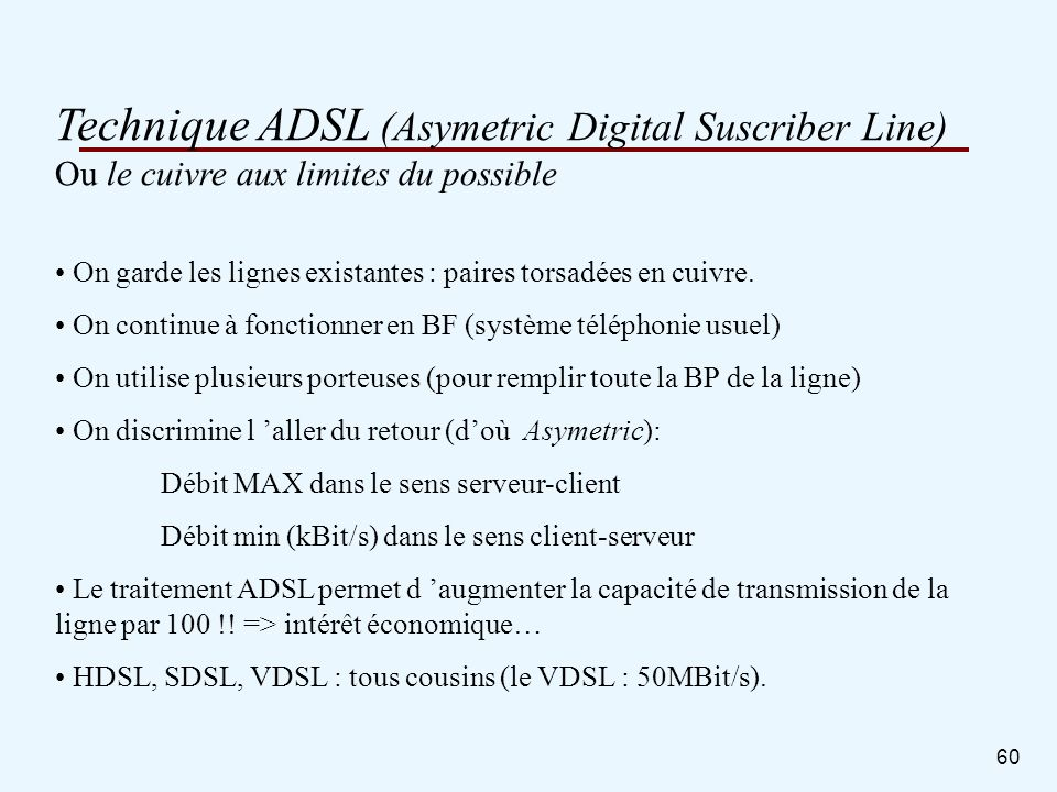 Technique ADSL (Asymetric Digital Suscriber Line)