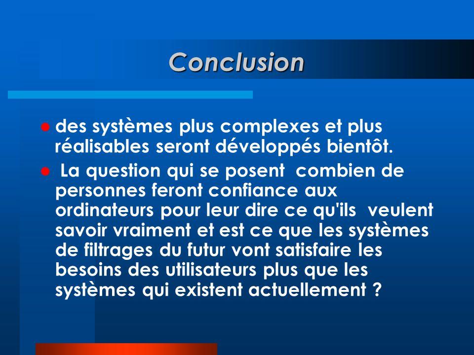 Conclusion des systèmes plus complexes et plus réalisables seront développés bientôt.