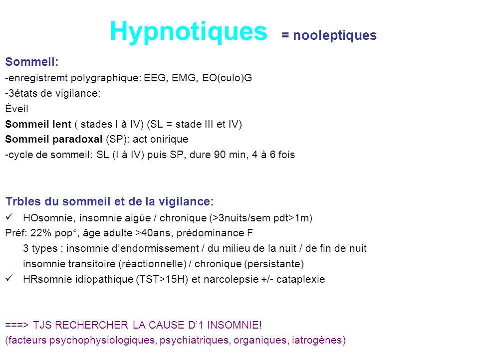 Hypnotiques = nooleptiques