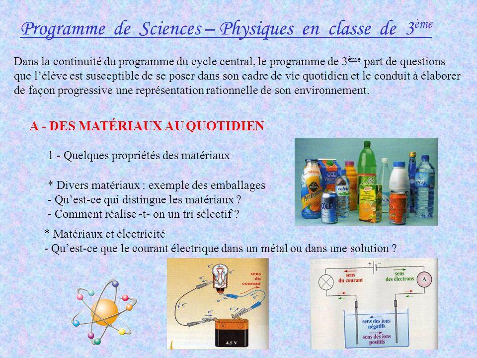 Programme de Sciences – Physiques en classe de 3ème