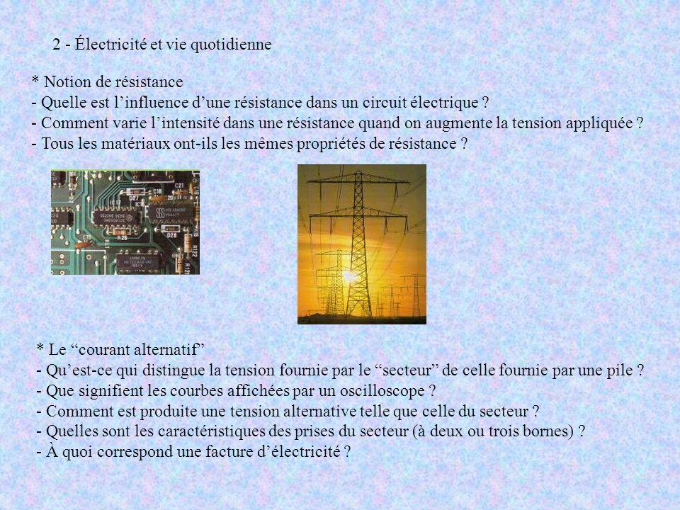 2 - Électricité et vie quotidienne